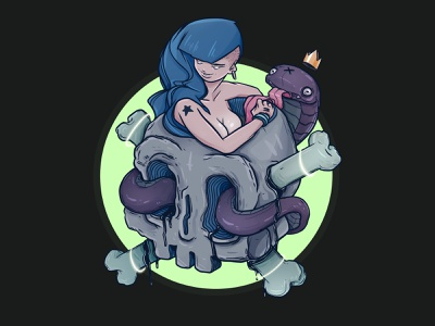 Snake Charmer logo icon funny game character design illustration
