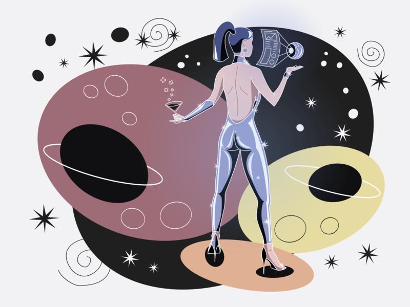 Space Girl: News & Coffee [HQ Reupload] retro inkscape illustration woman girl future