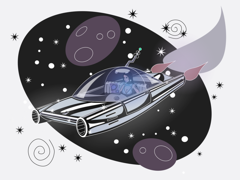 Space Girl: Cosmic Commute vector woman galactic car future inkscape illustration girl space