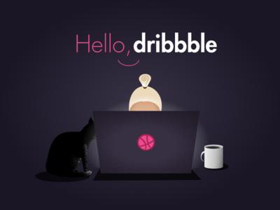 Hello dribbble! hello cat illustration hello dribbble