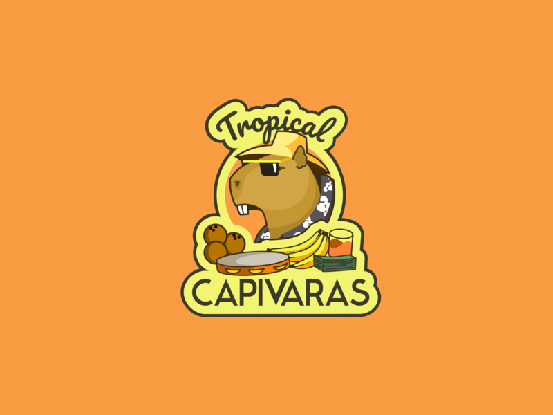 Tropical Capivaras Emblem capibara emblem animal illustration