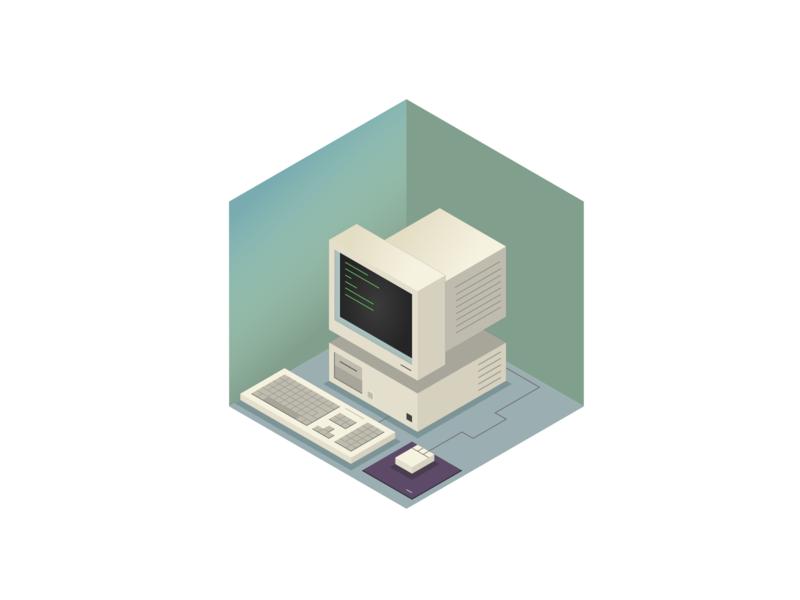 90's PC isometric art vector computer illustration squares isometric