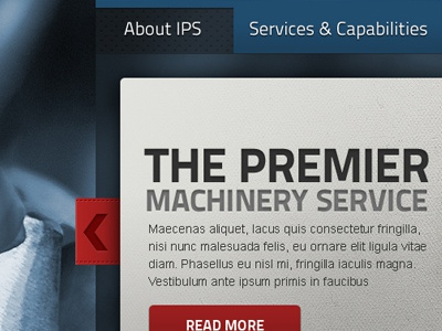 Premier Machinery blue tabs red cta machine big background texture metal