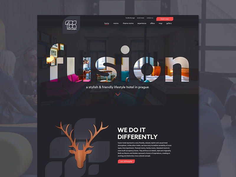 Hotel Fusion travel funky design user interface design web design