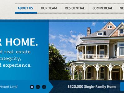 Find A Home realty blue web slider real estate house sky navigation