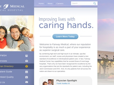Caring Hands lavender museo sans white vertical navigation button family medical