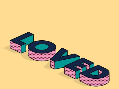 Loved tyopgraphy isometric type pattern 3d text type illustrator isometric text