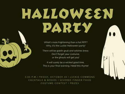 Halloween Frights happy hour invitation party knives ghosts pumpkins october illustration scary halloween
