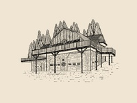 Barn in the Woods wine label wedding line drawing barn illustration