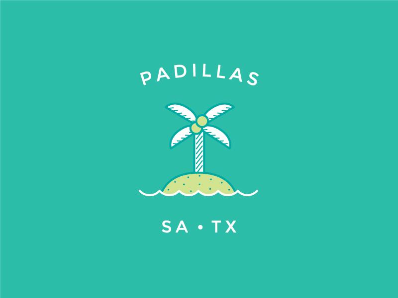 Padillas Island Burger simple waves logo burger green teal palm tree new