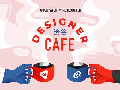 Designer Cafe tokyo shibuya cafe coffee design illustration typography texture red blue logo vector