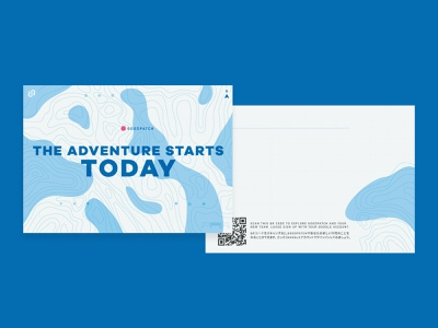 Onboarding Card 🎉 postcard message blue map qr topography illustration vector