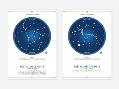 ✨Goodpatch All Stars ✨ map sky lots of work details gold texture blue all-stars stars constellation certificate design certificate awards