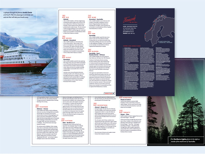 Fernweh Brochures layout design type layout northern lights travel brochure layout