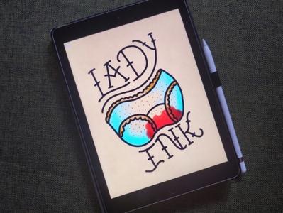 Lady Ink sailor jerry typography tattoo art illustration