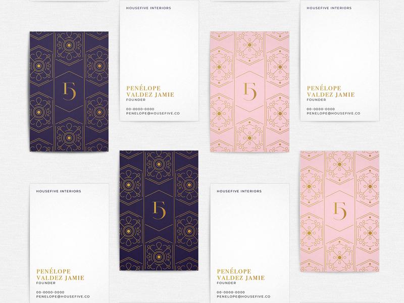HouseFive Business Cards icon branding interior design brand identity logo business card