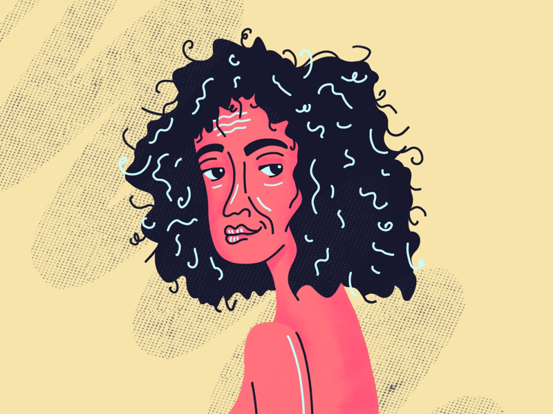 Saturday Practice pattern woman pink procreate curly hair curls illustration