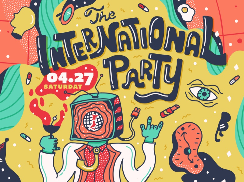 The International Party handlettering hand drawn cocktail eye tv head typography illustration