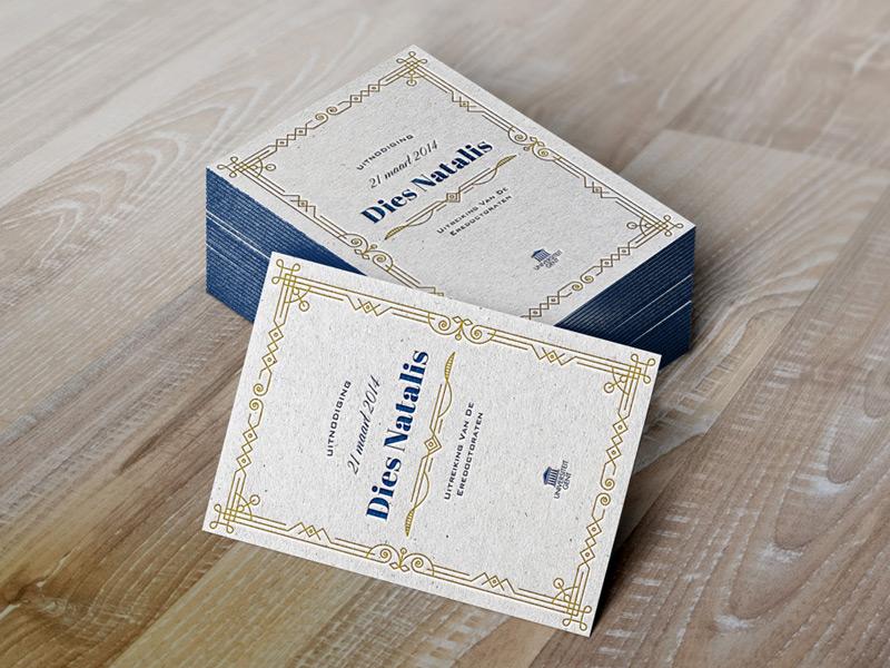 Dies Natalis invitation art deco letterpress duochrome