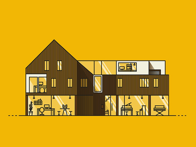Office office architecture vector line honey