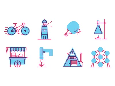 Icons line icons pingpong mixte lighthouse chemistry drill atomium