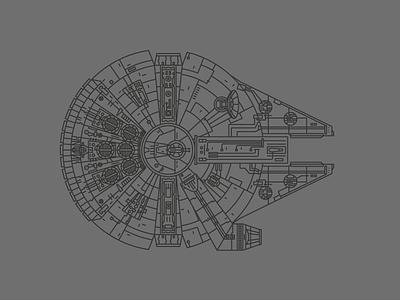 The Falcon spaceship space lineart star wars millennium falcon
