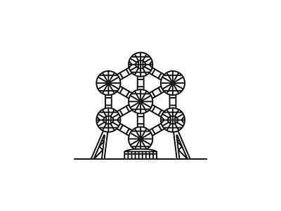 Atomium architecture atomium monoline lineart