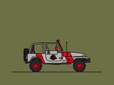 Jurassic Park linerart wrangler jeep jurassic park