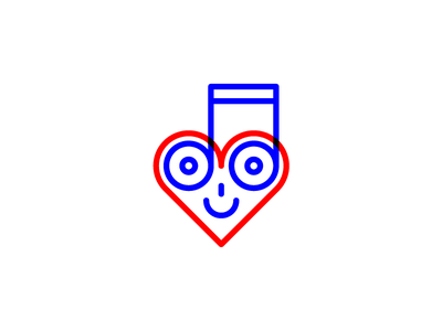 Love for music icon face smiley heart note music