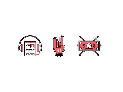 Soundninja icons lineart dollar fan headphones music