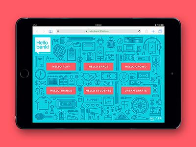 Hello bank! Platform ipad icons monoline lineart