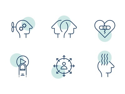 Unio Icons psychology therapy lineart circle line icons mindfulness healthcare