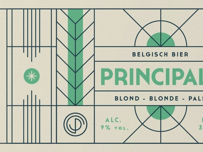 Principale label green line bottle belgian label beer