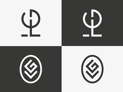 LG Monogram black and white logo tree flower g l monogram