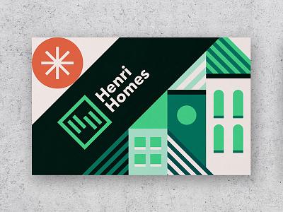 Henri Homes business card branding illustration sun house logo businesscard