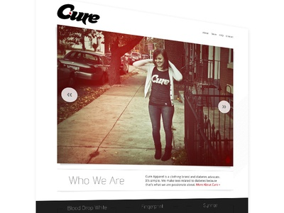 Cure Apparel website photography light leaks image slider design web design homepage minimal