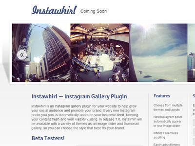 Instawhirl Coming Soon Page landing page design web minimal