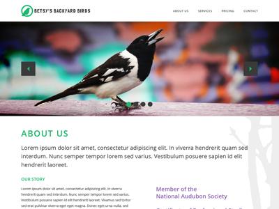 Betsys Birds Site web minimal flat simple image slider