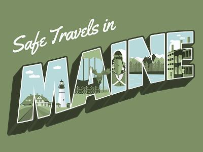 Maine Postcard travel postcard vintage font vintage travel maine