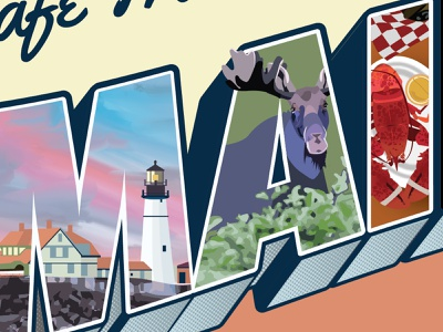 Detail shot of detail version, Maine Postcard vintage postcard vintage font vintage postcard maine