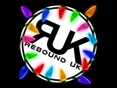 Rebound UK logo. Festive edit lights christmas logo