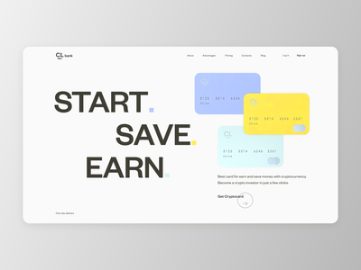 Cryptocard. Start. Save. Earn. promo bank card banking crypto typography website cards design clean ui white