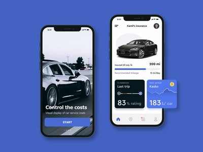 Auto Insurance App Concept blue credit score dashboard car auto insurance ui app mobile ios