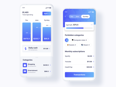 One Credit Card for All: Meet Apple Card Family 💙 gradient banking account spendings credit card fintech visa mastercard neobank banking app credit ui clean app white mobile ios