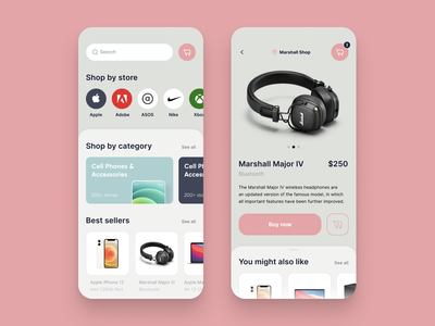 Marketplace App You Didn't Know You Needed 💜 clean shop online store white e-commerce design ui mobile ios app marketplace