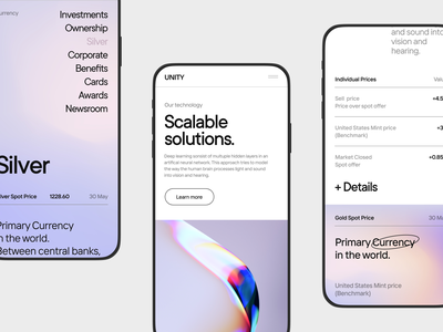 UNITY Bank Adaptive Website Concept app ios gradient online banking future banking minimal fintech unity mobile dashboard clean white concept bank banking ui