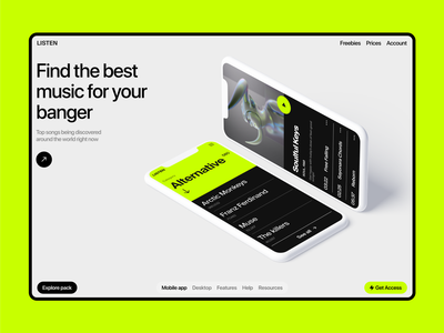 Music Streaming Mobile App Concept 💚 ui ux black and white minimalistic spotify music app ios neon app mobile streaming platform music