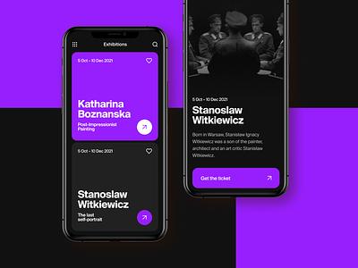 App Design for Art Gallery 🖤 ios purple black dark masterpiece ui art gallery design mobile app