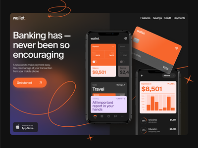 Mobile Banking App Concept 🧡 ui bank challenger neobank future banking online banking banking app bank fintech credit orange black dashboard app ios mobile