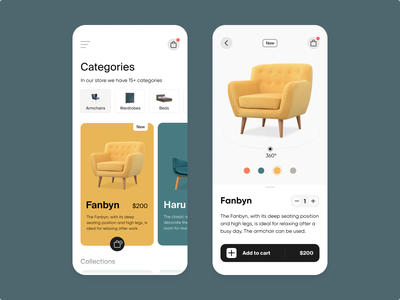 The Furniture E-commerce App armchairs design online store yellow 3d minimalist table chair product design property app mobile ios clean furniture app furniture store ecommerce shop e-commerce design item card